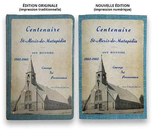 Deux couvertures de livres côte à côte. Édition originale abîmée, et la nouvelle édition corrigée.